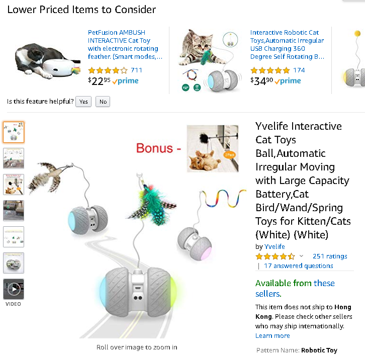 Interactive Cat Toys Ball,Automatic Irregular Moving with Large Capacity Battery,Cat Bird//Wand//Spring Toys for Kitten//Cats
